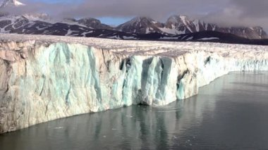 Ice Calving From The Tidewater Glacier - Arctic, Svalbard — Stock Video