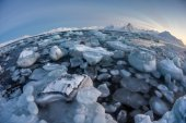 Typical Arctic winter landscape - glacier ice in the fjord — Стоковое фото
