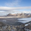 Arctic summer landscape - mountains, fjord, glaciers - Spitsbergen, Svalbard — Stock Photo #58709123