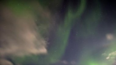 Beautiful Northern Lights over the Arctic mountains and glaciers — Stockvideo