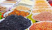 Dried fruit and nuts in a local market — Stok fotoğraf