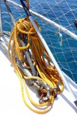 Yellow rope on the boat's deck — Stock Photo