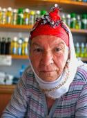 Elderly Turkish village woman — Stock Photo