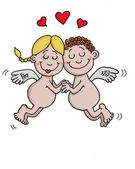 Angels are in love — Stock Vector