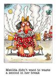 Cartoon gag about female smoker — Stock Photo