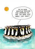 Cartoon about penguins' resemblance — Stock Photo
