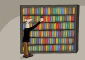 Cartoon of book library — Stock Vector