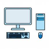 Blue desktop computer vector — Stock Vector