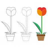 Flower  coloring book and  dotted line vector — Vector de stock