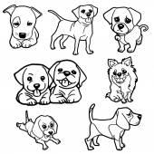 Puppy coloring book set vector — Vecteur