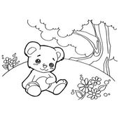 Bear cartoon coloring pages vector — Stock Vector