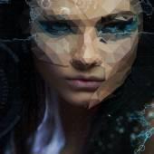 Beautiful girl cybernetic futuristic concept — Stock Photo