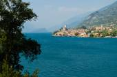 View on City of Malcesine along with Garda lake, — Stock Photo