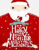 Santa Claus holding Christmas Label — Stock Vector