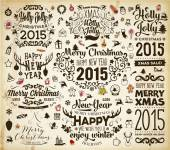 Christmas calligraphic vintage labels — Stock Vector