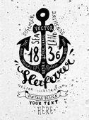 Black Anchor Vintage Label — Stock Vector