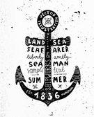 Vintage Black Anchor. — Stock Vector