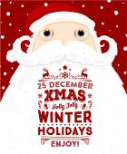 Santa Claus with Christmas Holidays Label — Stock Vector