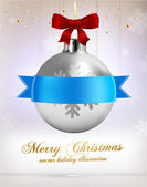 Christmas Ball with Ribbon. — Stock Vector