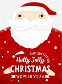 Santa Claus with Holly Christmas Label — Stock Vector