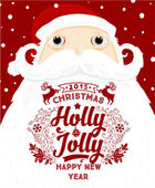 Santa Claus with Holly Christmas Label — Stockvector