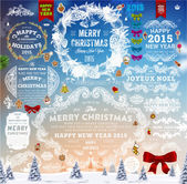 Hand Drawn Christmas Labels and Elements — Stockvector