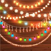 Set of Glowing Christmas Lights — Stock Vector