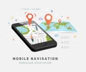 World Map and Mobile GPS Navigation. — Stock Vector