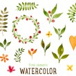 Floral Set with Watercolor Flowers — Stock Vector #70423755