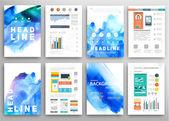Uppsättning av flygblad, broschyr designmallar — Stockvektor