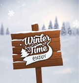 Wooden Plaque with Winter Time Label — Stock Vector