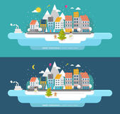 Set for Winter and Xmas Holidays Design — Stock Vector