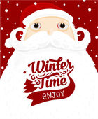 Santa Claus with Winter Time Label — Stock Vector