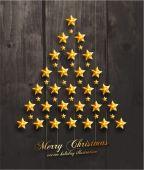 Christmas Stars in shape of Christmas Tree. — Stock Vector