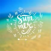 Summer Design with Blur Beach Background — Stock Vector