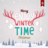Cartão de Natal com paisagem de inverno — Vetor de Stock