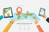 Mobile GPS Navigation — Stock Vector