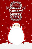 Santa Claus with Holly Christmas Label — Stock vektor