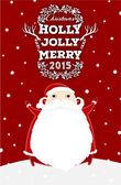 Santa Claus with Holly Christmas Label — Vetor de Stock