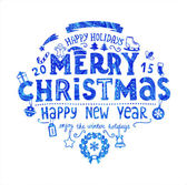 Christmas blue hand drawn label — Stock Vector