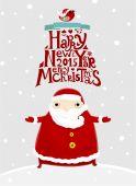 Santa Claus with Merry Christmas Label — Vetor de Stock