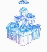 Christmas hand drawn presents — Stock Vector