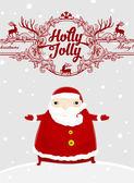 ホリー クリスマス ラベルとサンタ クロース — ストックベクタ