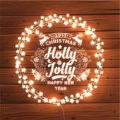 Glowing Christmas Lights Wreath — Stock Vector