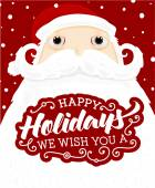 Santa Claus with Happy Holidays Label — Stock Vector