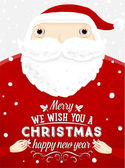 Santa Claus with Merry Christmas Label — Stock Vector