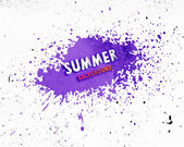 Summer background with purple paint splash — Stock Vector