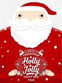 圣诞老人与冬青圣诞节标签 — 图库矢量图片