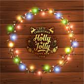 Glowing Christmas Lights Wreath — Stock Vector