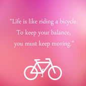Vintage Motivational Quote Poster. Life is Like Riding a Bicycle — Foto Stock
